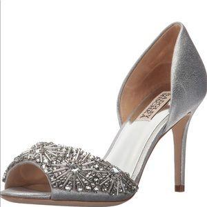 Badgley Mischka Silver Maria Rhinestone Peep Heels